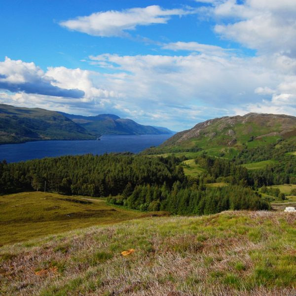 A view of Loch Ness from the hills
